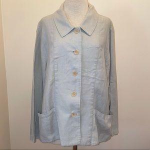 FLAX gray lagenlook 100% linen pocket traveler jacket size 18